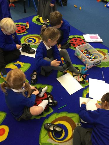 We drew around our feet and measured the image with cubes