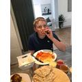 Archie enjoys Tikka Masala