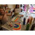 Rainbow painting fun!