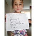 Great use of a number line to solve a sum!