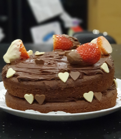 Caitlin has baked this VERY impressive Valentine's Cake!