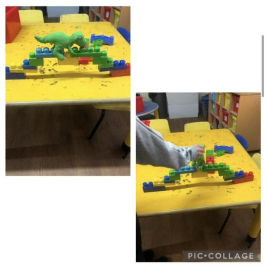 Mollie has made such a strong bridge that a dinosaur can walk on it!