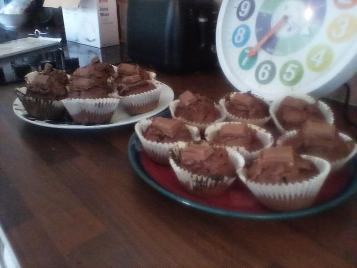 Look at Olly's marvellous muffins! They have Nutella and Galaxy in them!