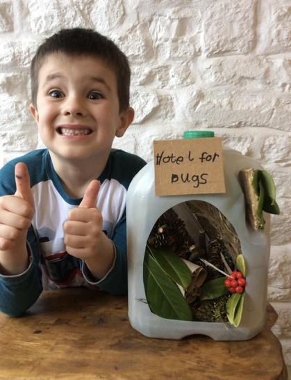 A brilliant bug hotel with lots of hiding places! Amazing work!