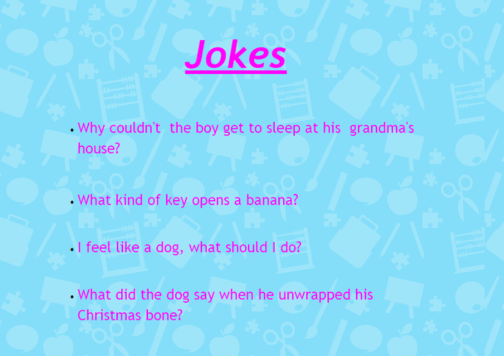 Lucia's Jokes submitted for the 'joke corner' in The Cila Chronicle