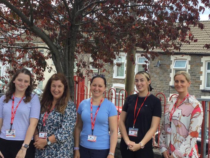 From left: Miss Deane (TA student) Mrs Lloyd (TA) Mrs Alexander (Class Teacher) Miss Hartman (TA) Miss Jones (TA)