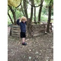 Noah practised jumping with sticks.