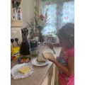 Destiny collecting her stars and making a sandwich