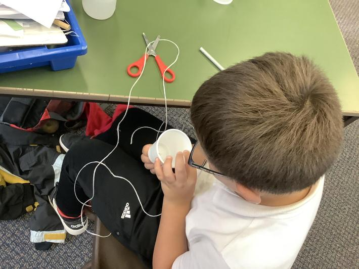 We used cups and string to make our own 'whisper ma phone'.