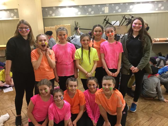 All the dancers with Maisy and Paige from Kingshill School.