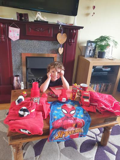 Rupert and his red collection!