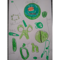Martha drew and labelled her green objects!