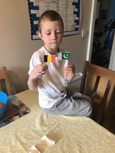 Jay made flags for sandcastles