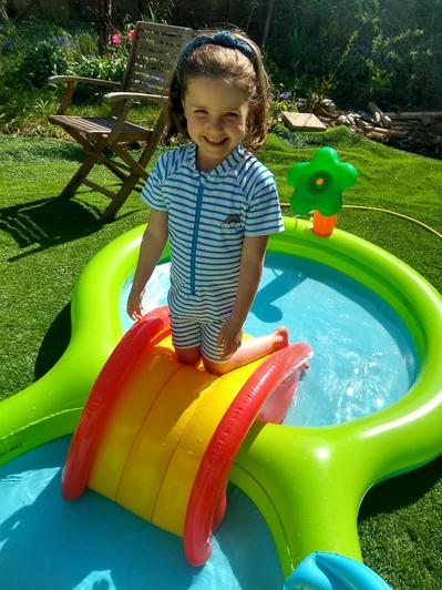 Martha playing in her pool.