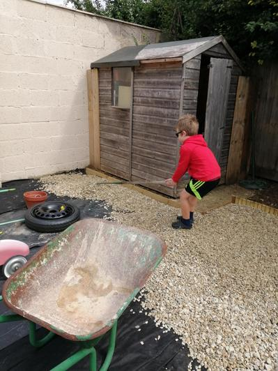 Lucas helped out in the garden.