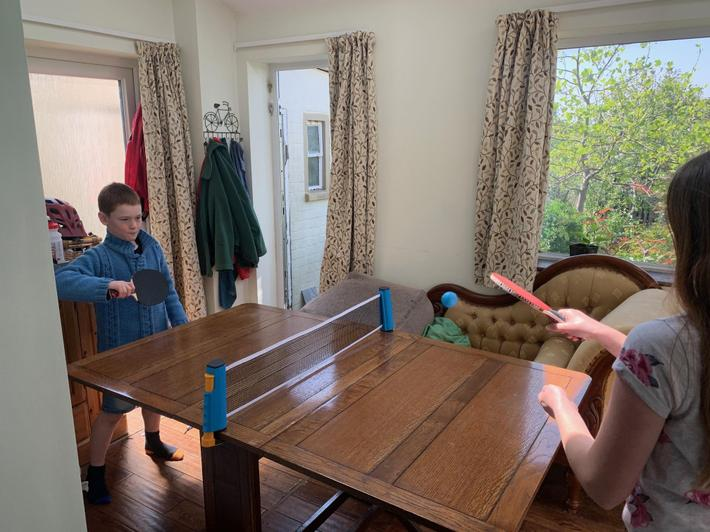 Table tennis on the dining table!