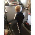 Dillon working out on the treadmill
