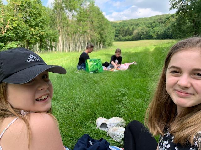 Maisy and Evie enjoying a picnic!