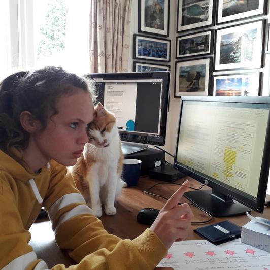 Freya (and Carlos) hard at work