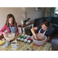 Mila and Freja busy baking