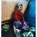 Finley's as Spiderman opening his B'day presents