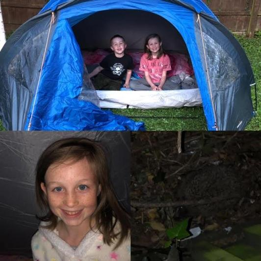 Ebony camping in the garden!