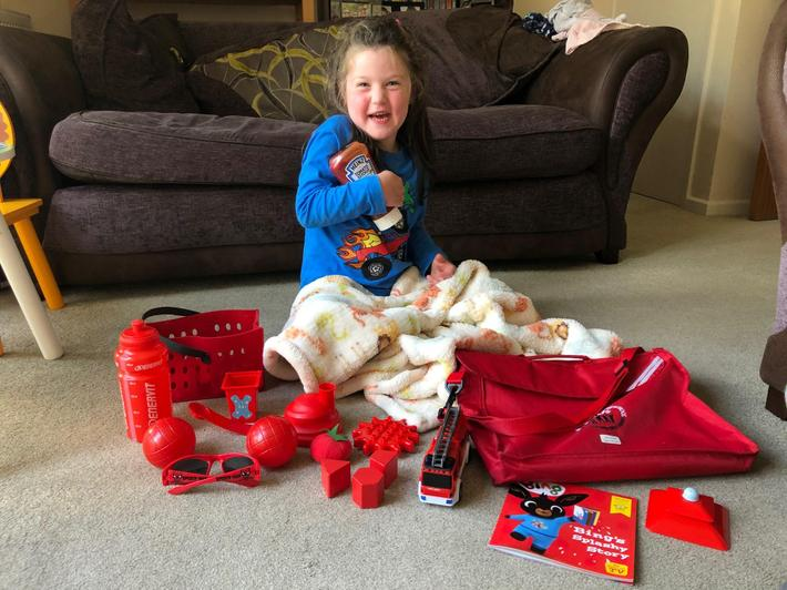 Sienna and all her red finds!