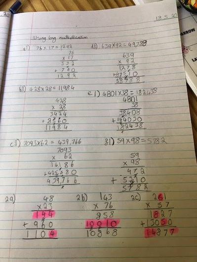 Wow! Ebony is amazing at long multiplication!