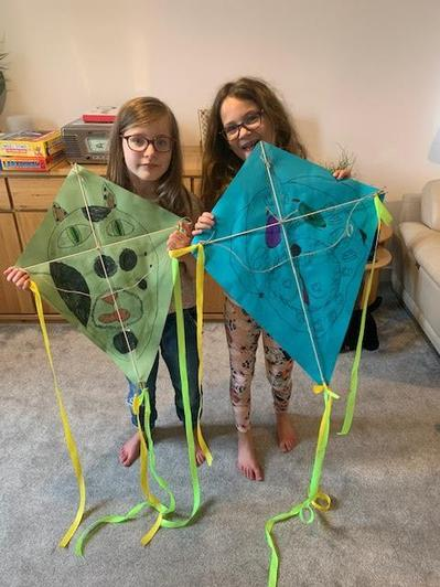 Lily and Bea made kites.