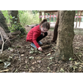 Forest school: Pretending to toast marshmallows.