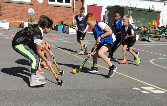 Year six practising during games