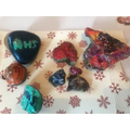 Rock painting with Mia T - they are very lovely