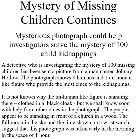 Jack's creepy newspaper report...