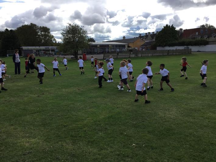 Reception children enjoying their PE lesson