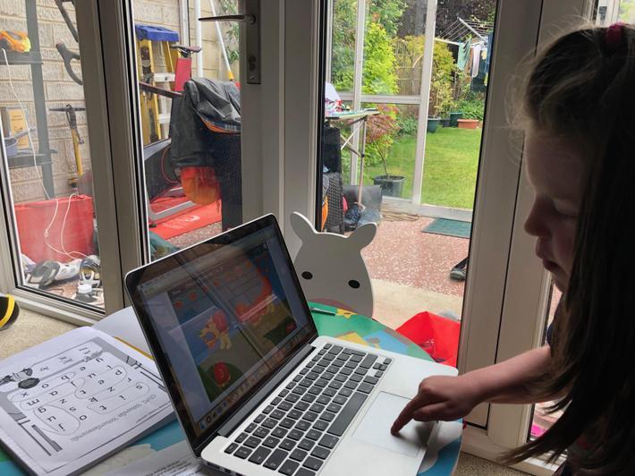 Sienna working on her maths.