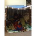 Ruben made a cosy den.