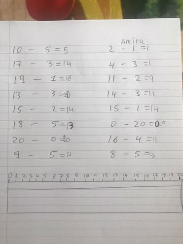 Lots of super subtraction using a number line!