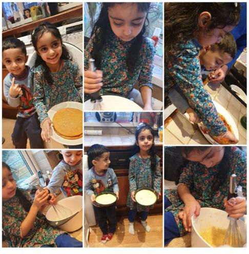 Well done on working together to make a cake.