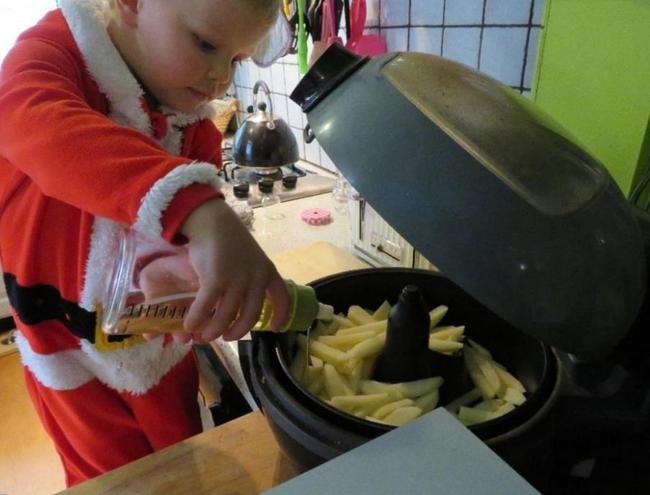 Helping to make lasagne and chips!