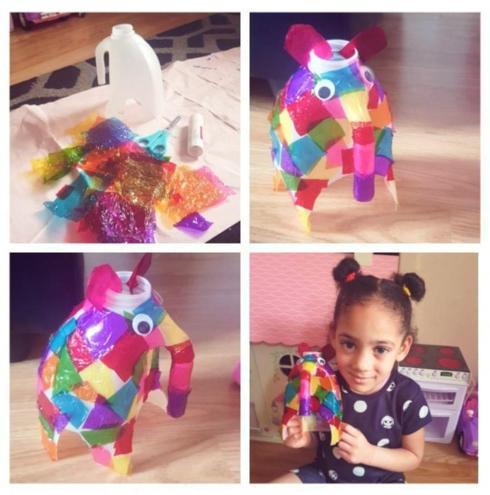 Careful cutting to make a rainbow Elmer!
