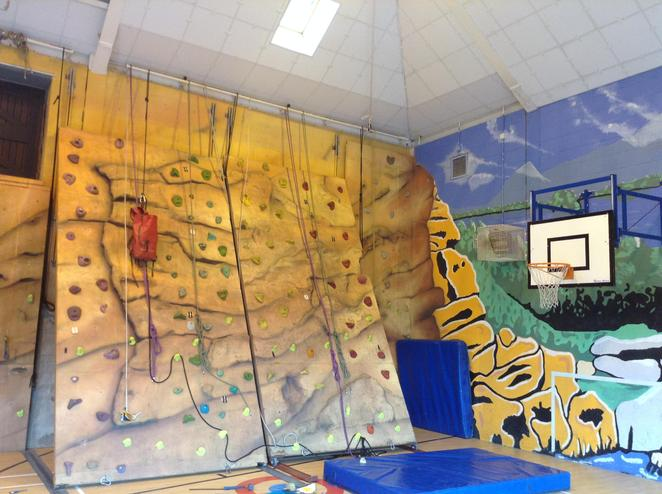 View of the sports and climbing hall