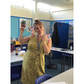 Miss Wilson getting ready for the party