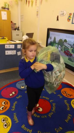 We tried to recycle into green and pink bags.