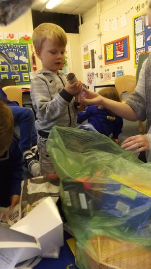 We sorted the rubbish into bags.