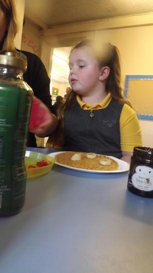 We decorated our pancakes and made choices.