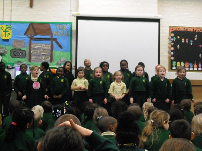 The infant choir performing