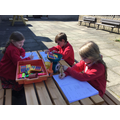 We took advantage of the lovely weather to practise our measuring skills.