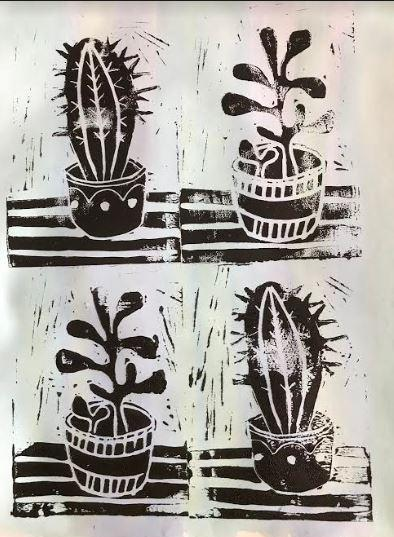 Lino prints by Mrs Brewer