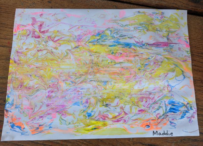 shaving foam marbled paper by Maddie 1W
