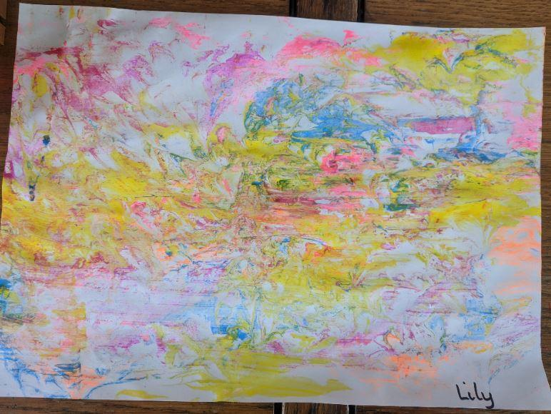 shaving foam marbled paper by Lily (nursery)